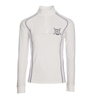 Elena Long Sleeve Technical Top White, perfect for competition.