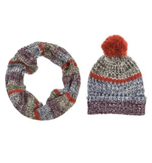 Knitted Hat and Snood Navy Melange, for those chilly day (Extra warmth)