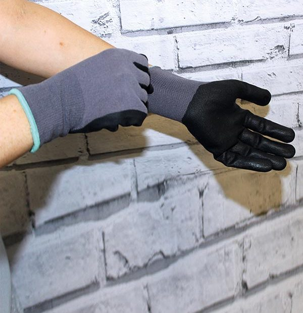 Coated Gloves Smooth Grip Grey/Black