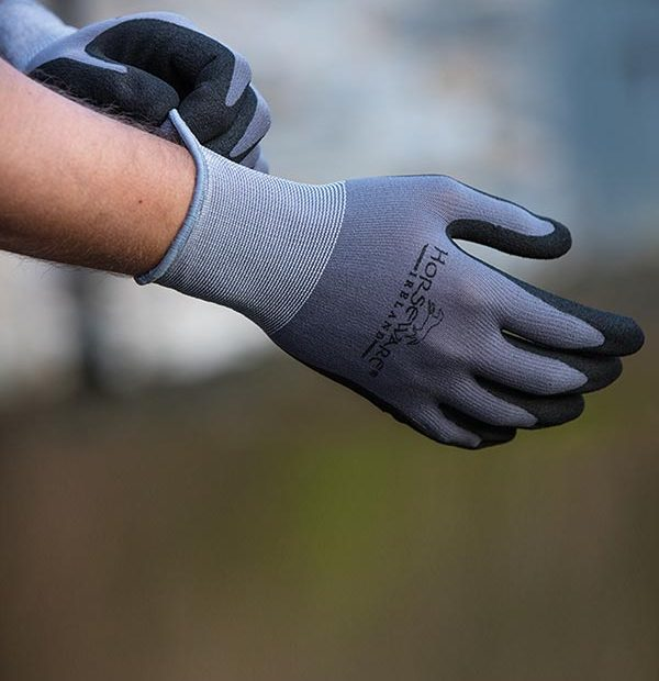 Coated Gloves Supreme Grip Grey/Black - Horseware Ireland