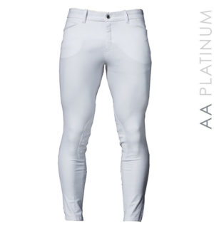 AA Taranto Men's Knee Patch Breeches White - AA Platinum Collection