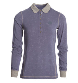 Enya Long Sleeve Polo Night Shadow, super luxe feel technical fabric.