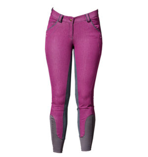 Ladies Denim Breeches Full Seat Berry - Ladies Collection