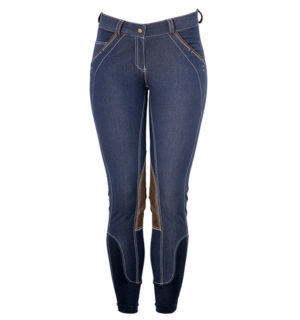 Ladies Denim Breeches Knee Patch Blue Denim - Ladies Collection