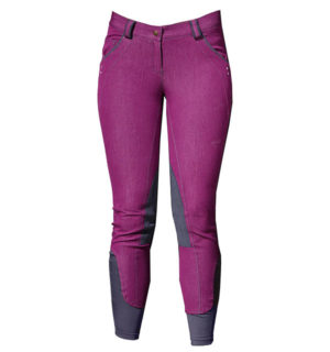 Ladies Denim Breeches Knee Patch Berry
