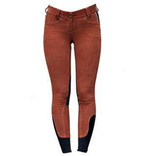 Adalie Cord Ladies Breeches Knee Patch Gingerbread - Polo Collection