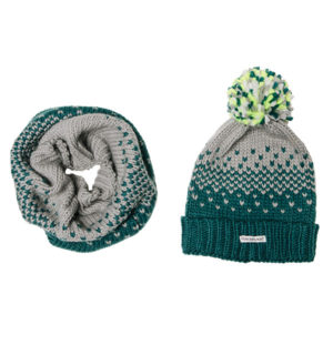 Bobble Hat and Snood Storm Green