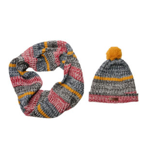 Knitted Hat and Snood Navy Melange