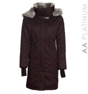 Lugano Long Coat With Faux Fur Espresso, extremely warm and cosy!