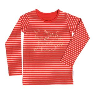 Girls Long Sleeve Top Coral Stripe - Girls Collection