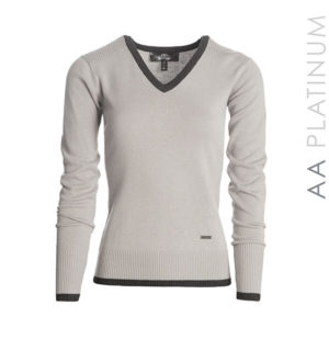 Asti Classic V Neck Sweater Stone Grey - AA Platinum Collection