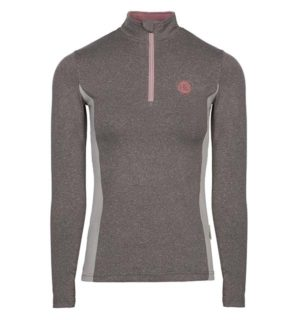 Aveen Melange Half Zip Tech Top Light Grey