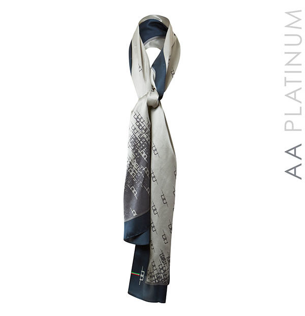 AA Silk Scarf Navy Stripe