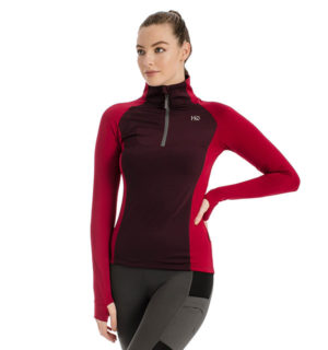 Thea Tech Quarter Zip Fig / Rio Red