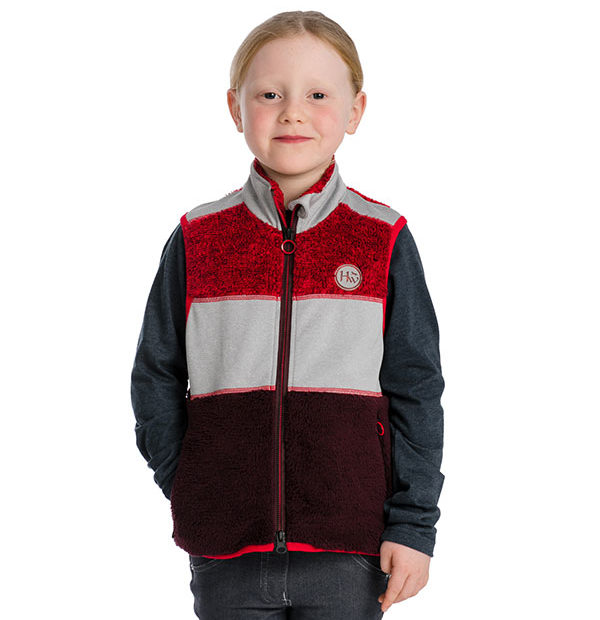 Kids Sherpa Gilet Fig/Grey/Red