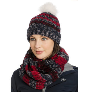 Knitted Hat & Snood Navy Stripe