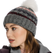 Knitted Hat & Snood Grey Stripe