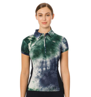 Orla Tech Polo Green/Navy Tie Dye