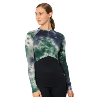 Jade Crewneck Technical Base Layer Green/Navy Tie Dye