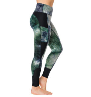 Riding Tights Silicon Green/Navy Tie Dye